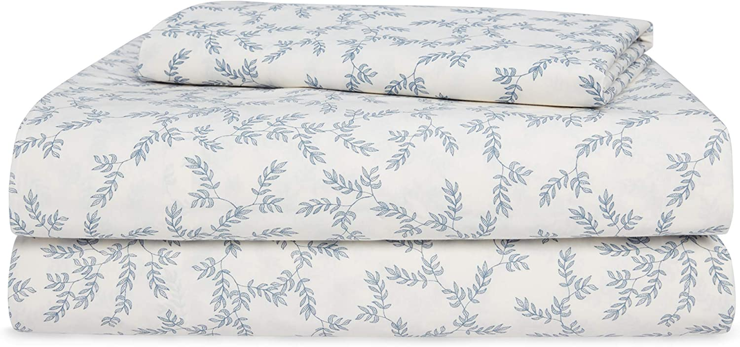 Chaps Home SARSFIELD 60% Cotton/40% Poly Printed Sheets-200 Thread Count Bed Sheet Set-15 Inches Deep Pocket (Full), Full, Cream and Indigo