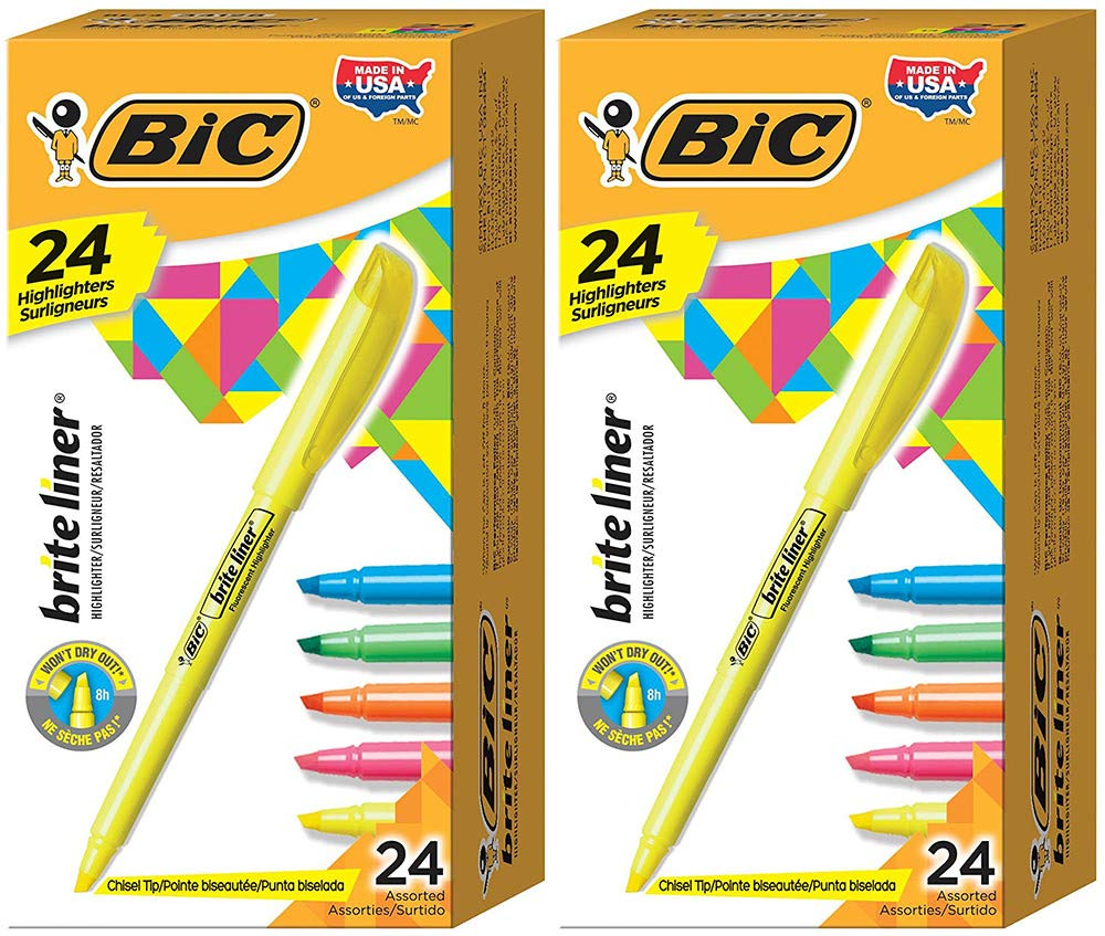 BIC Brite Liner Highlighter, Chisel Tip, Assorted Colors, 24 Count (2 Boxes)