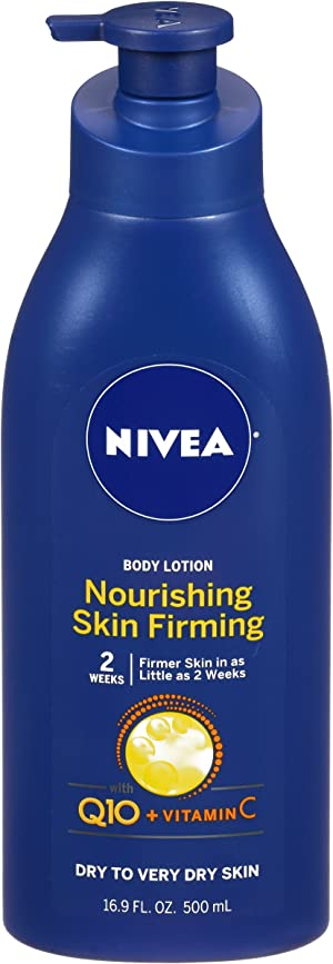 NIVEA Nourishing Skin Firming Body Lotion w/ Q10 and Vitamin C - 48 Hour Moisture for Dry to Very Dry Skin - 16.9 Fl. Oz. Pump Bottle