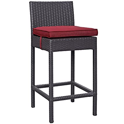Modway Convene Wicker Rattan Outdoor Patio Bar Stool With Cushion In  Espresso Red