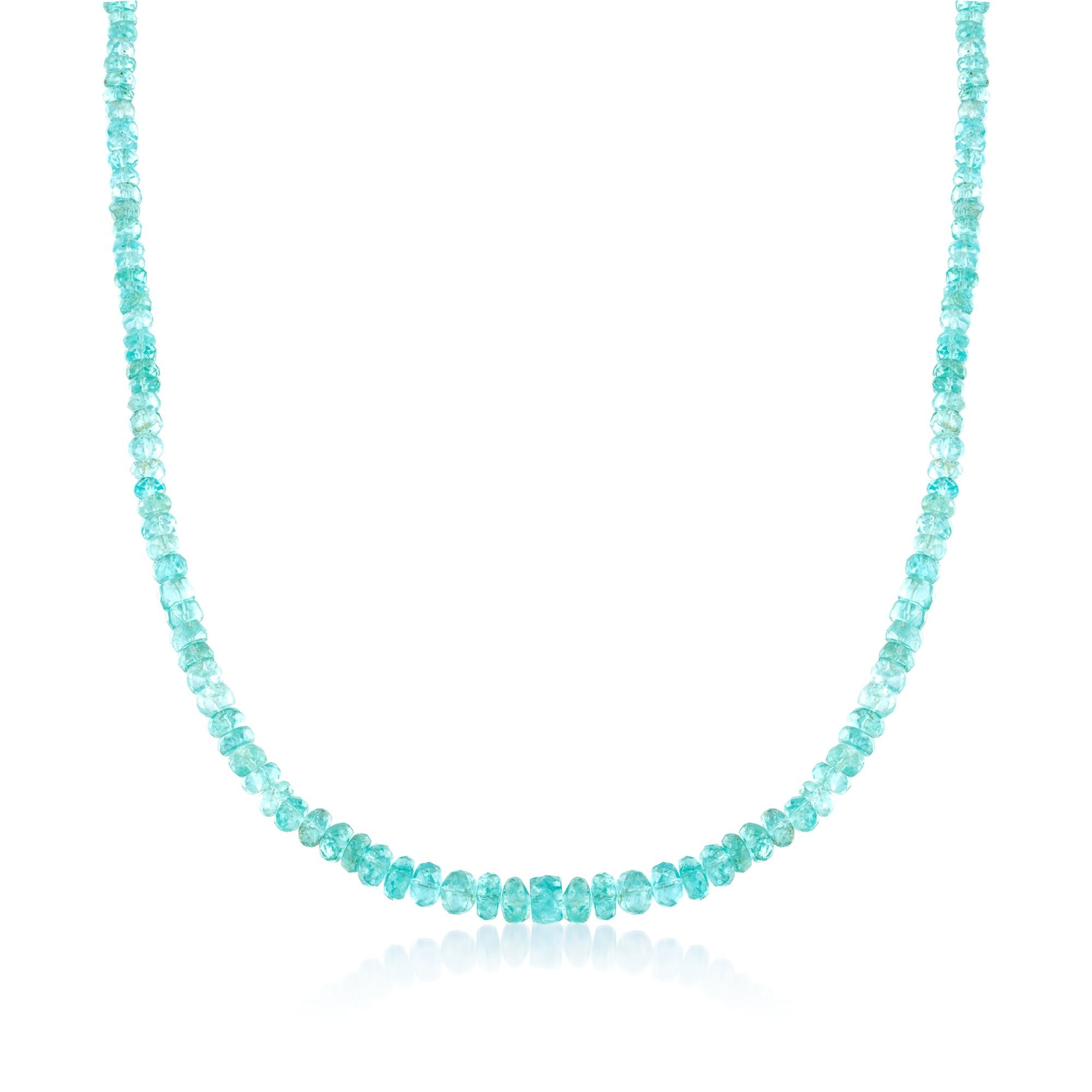 Ross-Simons 110.00 ct. t.w. Teal Apatite Bead Necklace With Sterling Silver