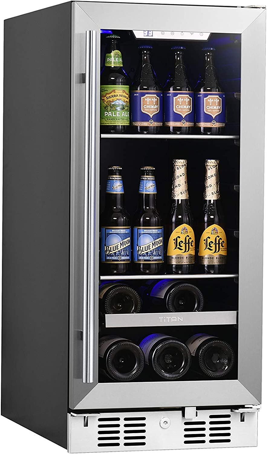 ?Limited Time Deal?Titan 15 inch Built In Beverage Cooler and Wine Cooler, 48 Can and 7 Bottle Stainless Steel Single Door Single Zone