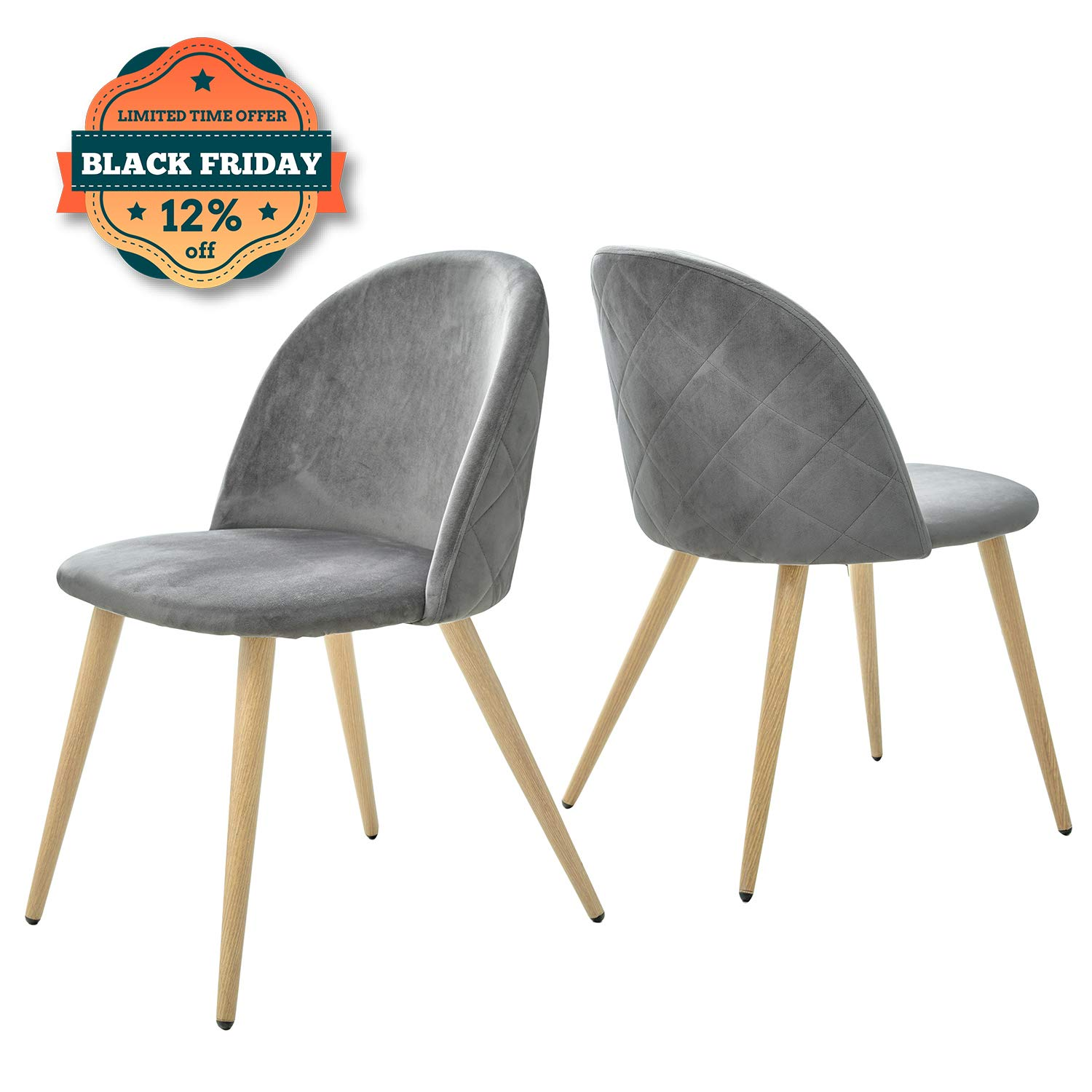 Kealive Dining Chairs Set of 2 Mid Century Modern Accent Velvet Leisure Side Chairs Upholstered Metal Legs for Living Room, Grey