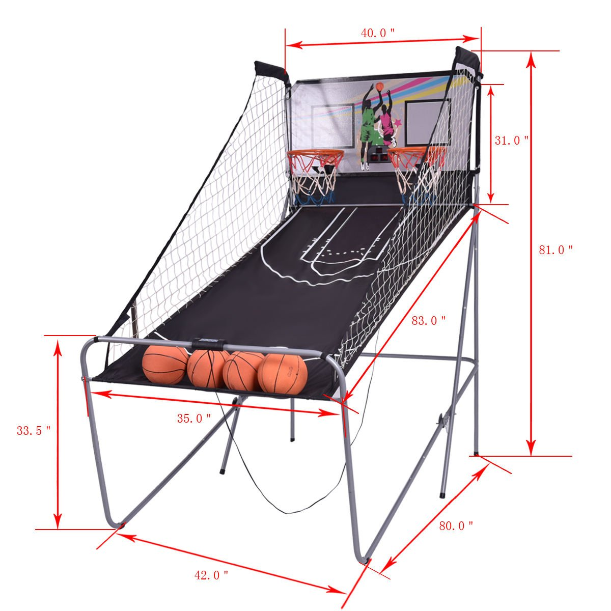 Eight24hours Indoor Basketball Arcade Game Double Electronic Hoops shot 2 Player 4 Balls + FREE E - Book by Eight24hours (Image #2)