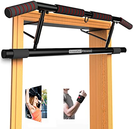 Home Chin Up Bar Sit-Ups Including Pull-Ups Leg Lifts Carbon Steel Doorway Portable Fitness Pull Up Bar for Many Exercises Chin Ups