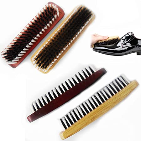 2 X Wooden Shoe Polish Brush Clothes Dust Cleaning Buffing Waxing