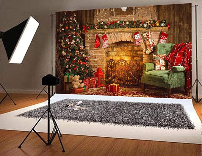 6x6ft,chy650 TCReal Christmas Tree Background Banner Photography Studio Birthday Family Party Christmas Holiday Celebration Photography Backdrop Cute Home Decoration