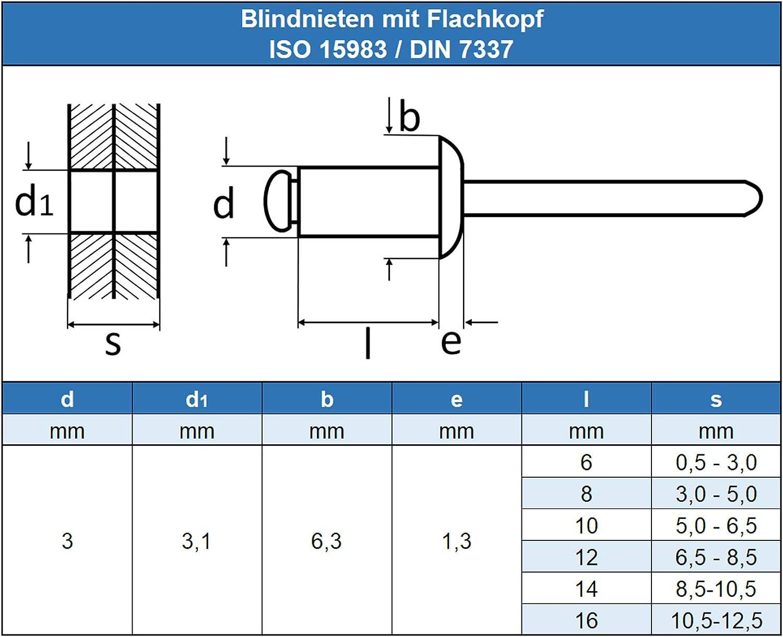 rostfrei Niet - mit Flachkopf 30 St/ück ISO 15983 6 x 12 mm Blindniet Popnieten DIN 7337 Eisenwaren2000 Edelstahl A2 V2A