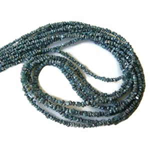 16 Inch Strand - Blue Diamonds - Raw Uncut Diamond Beads - Conflict Free Blue Diamonds Beads - 2mm To 3mm