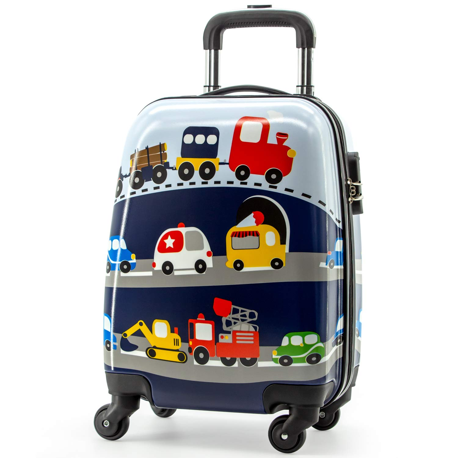 Lttxin cute kids suitcase pull along boys travelling with 4 wheel hard shell 18 inch for boys veholes by Lttxin kids'