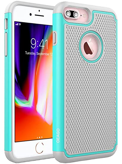 OEAGO iPhone 8 Plus Case, iPhone 7 Plus Case [Drop Protection] [Shock  Proof] Hybrid Dual Layer Rubber Plastic Impact Defender Rugged Hard Case  Cover