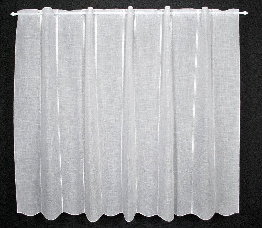 Tenda della finestra Formaggio Leinenoptik altezza 35 cm | Può scegliere la larghezza in segmenti da 16 cm, come vuole | Colore: Bianco | Tendine cucina
