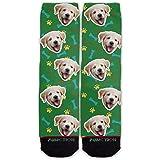 Función: calcetines de moda con patrón de cara de perro personalizados.