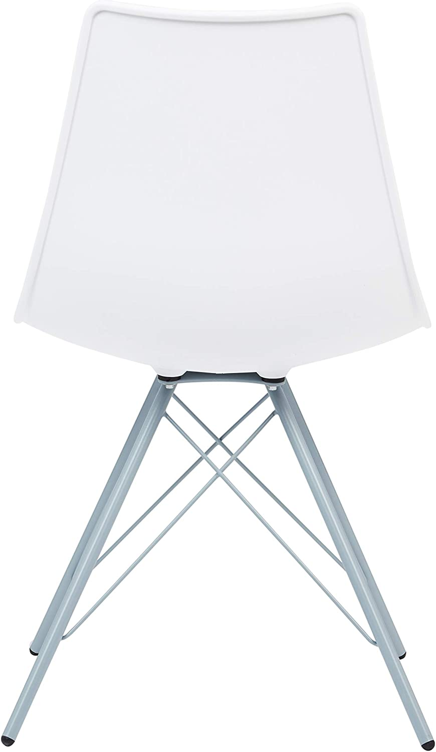 FUSIONWELL Ballon Retro Style Dining Chair PP Seat with Eiffel Metal Legs (white seat with black legs) White Seat With Blue-grey Legs