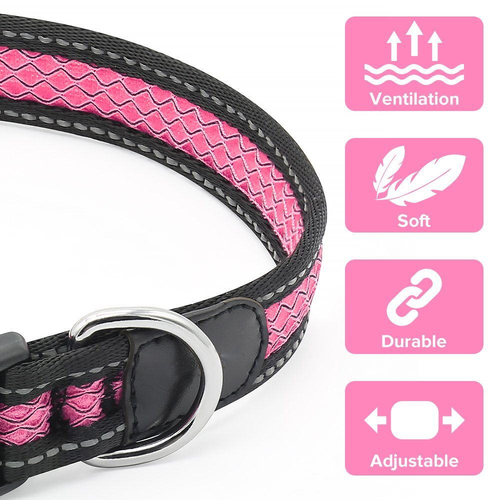 Reflective Dog Collar, Adjustable Waterproof Soft Mesh Fabric Pet Collars for Small, Medium, Large Dogs (L, PINK)