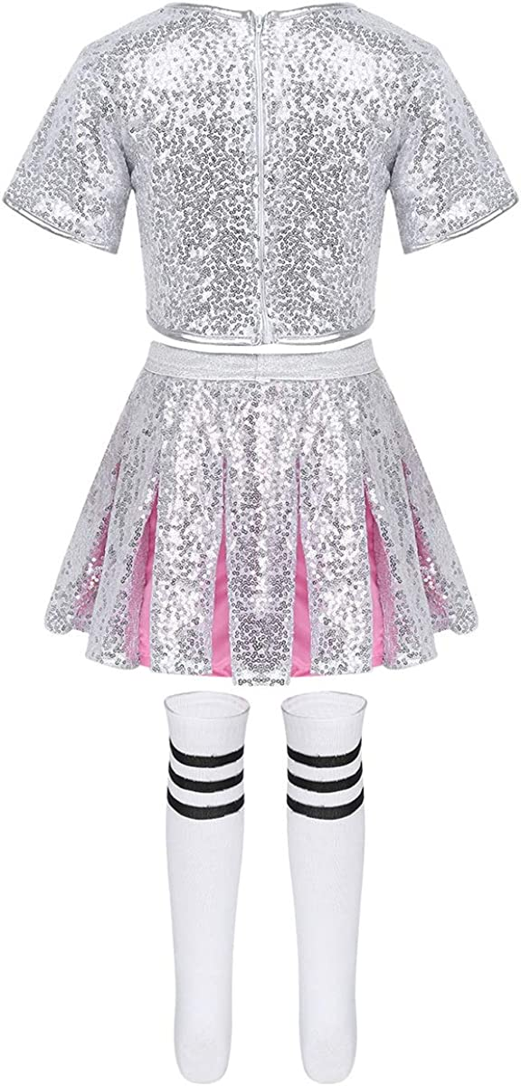 moily Kids Girls Boys Sequins Modern Jazz Hip Hop Dance Stage Performing Outfit Crop Top with Shorts Socks