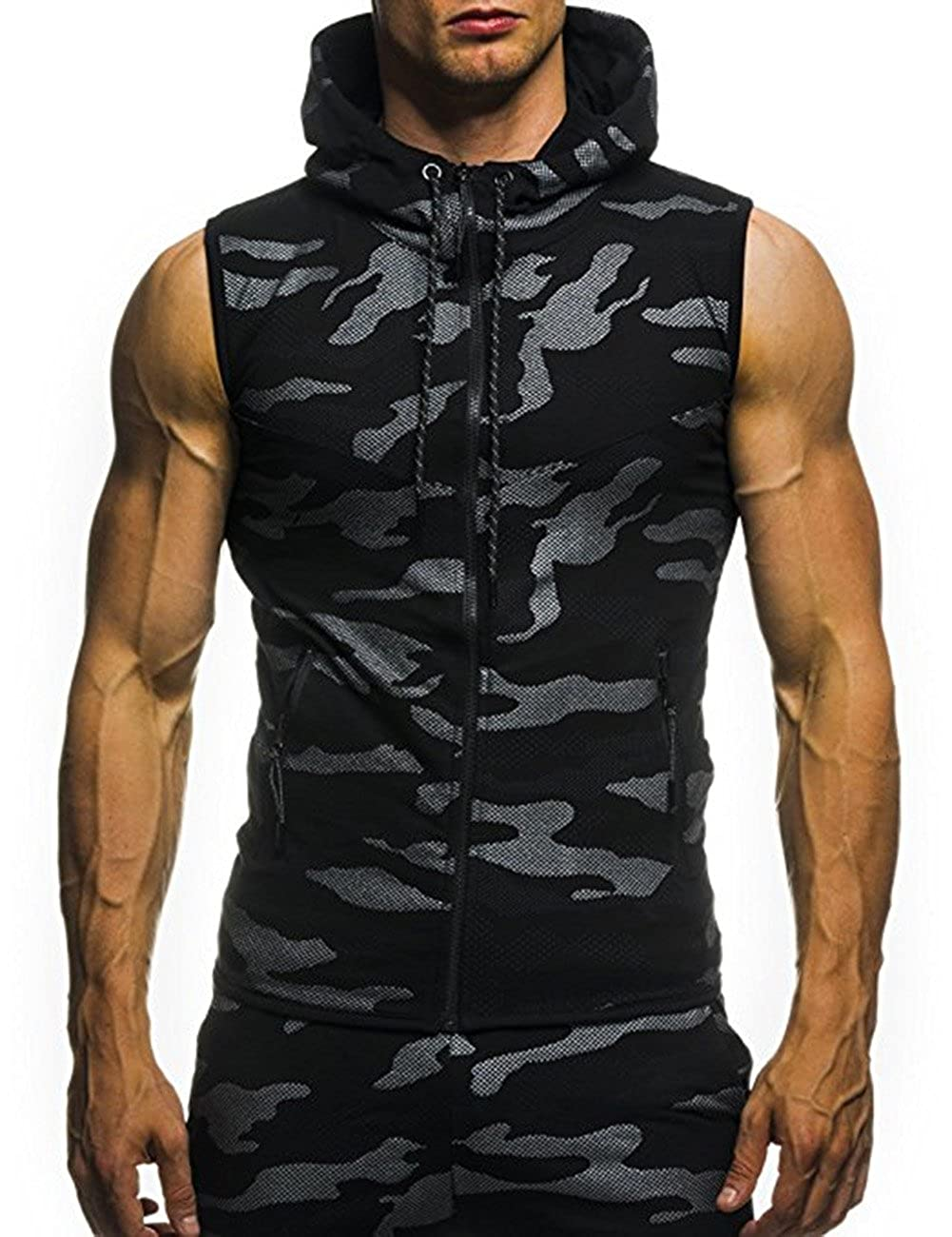 Amazon.com: MeterMall Unique Style Mens Camouflage Printed Drawstring Zipper Slim Fit Sleeveless Hoodie Navy Blue L: Clothing