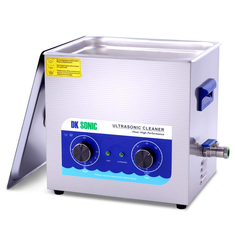 Limpiador Ultrasónico Profesional DK SONIC Limpiador Ultrasonidos de Acero Inoxidable 10L con Calentador para Partes de Pistola de Carburador Relojes de Latón Joyas Dentales Monedas de Metal
