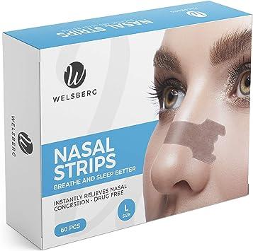 Welsberg 60x tiras nasales contra los ronquidos tiritas nasales antirronquidos, talla L: Amazon.es: Salud y cuidado personal
