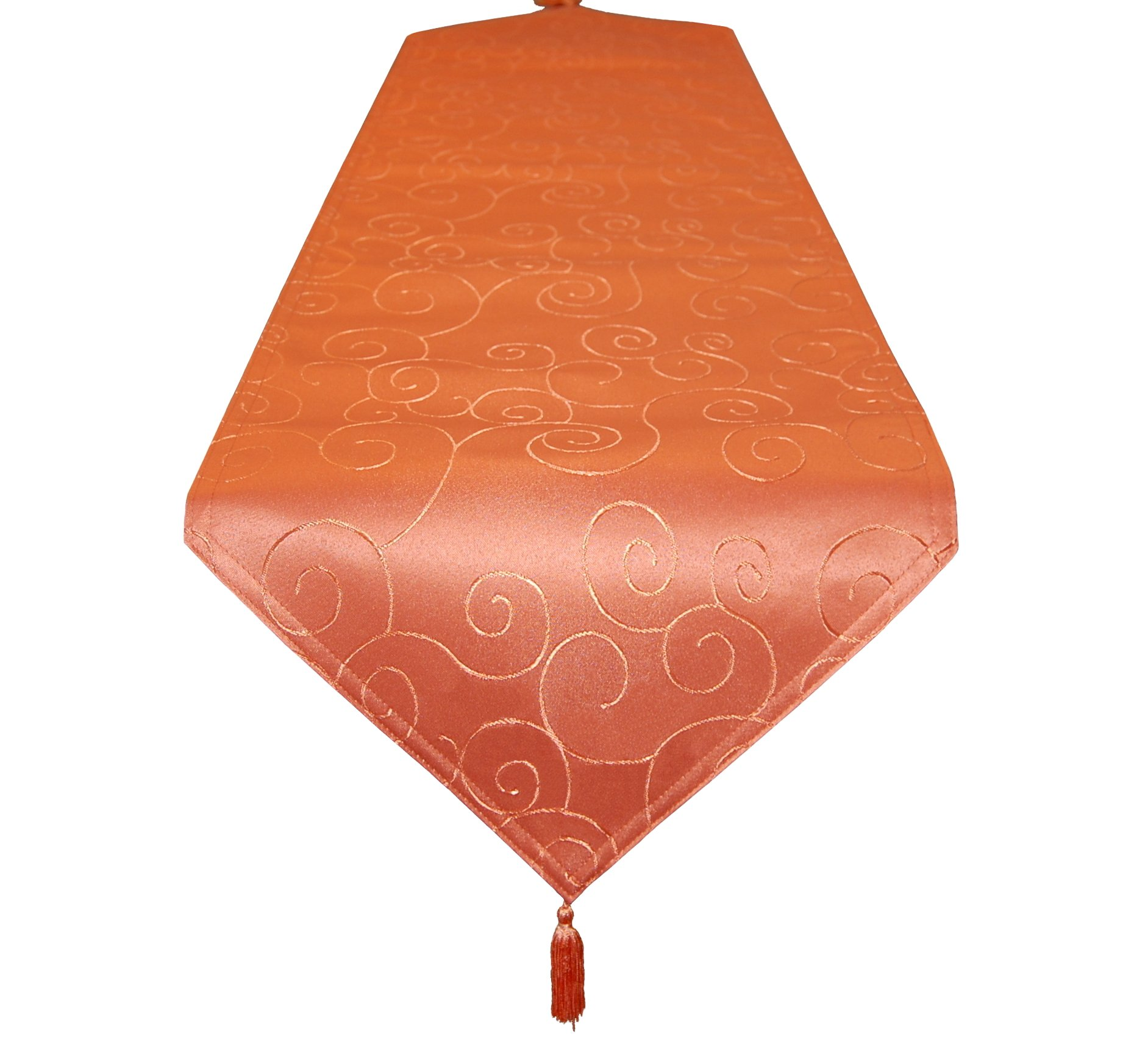 EcoSol Designs Microfiber Damask Swirls Table Runner (16''x70'', Orange Swirls)
