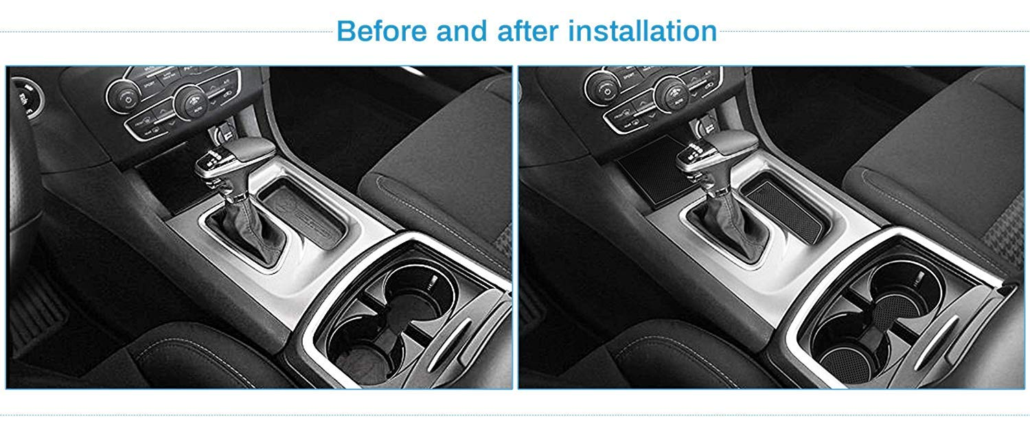 White SENYAZON Custom Fit Liners for Dodge Charger 2015 2016 2017 2018 2019 Accessories Door Pocket Liners Cup Holder Pads Console Mats Glow in Dark 22pcs//Set
