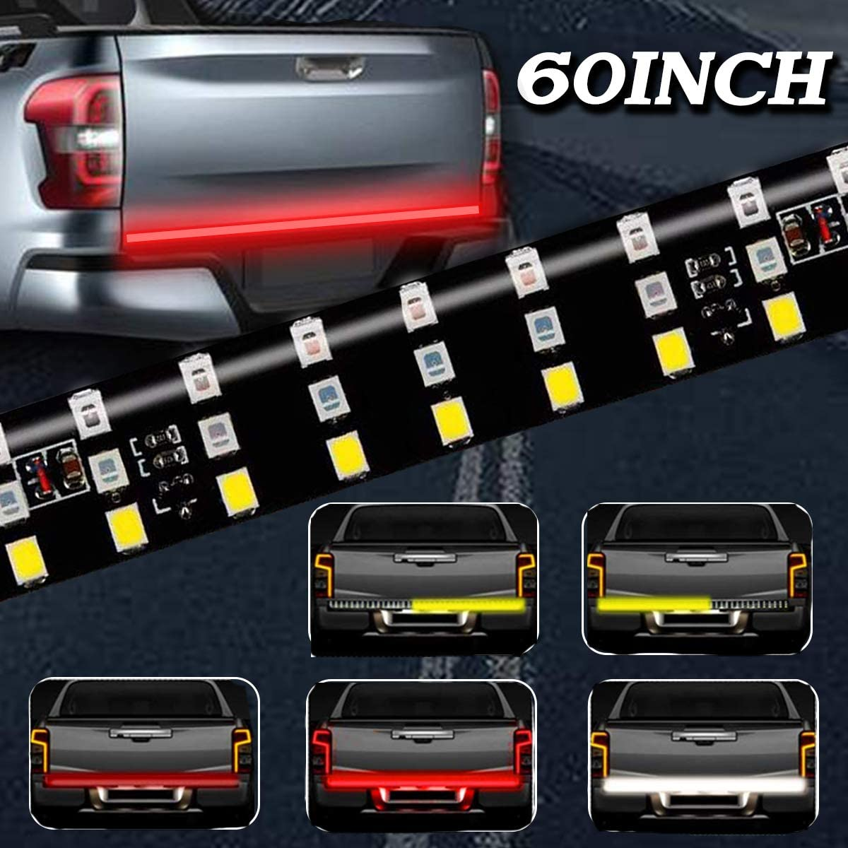 3R 60 OPL-60SS Led Tailgate Light Strip 60 Inch 432Pcs LED Flexible Triple Row Bar No Need Drill Install Turn Signal Brake Reverse Tail Lights for Pickup Trailer SUV RV VAN Car White//Red//Yellow