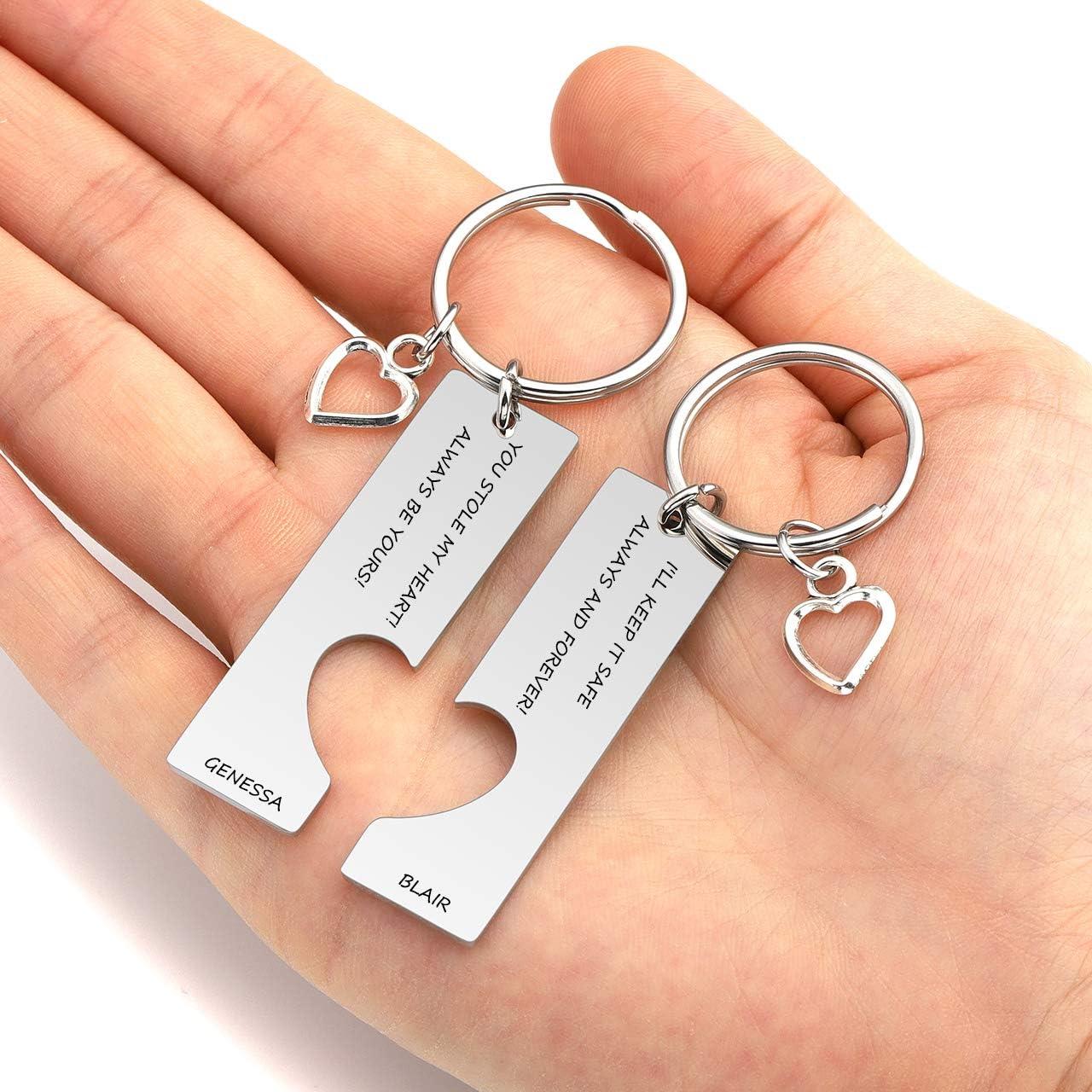 Gravure Zysta Porte Clef Cl/és Gravure Personnalis/ée Keychain Pendentif Maison Famille Acier Inoxydable ID Tag Accessoire Amoureux Cadeau