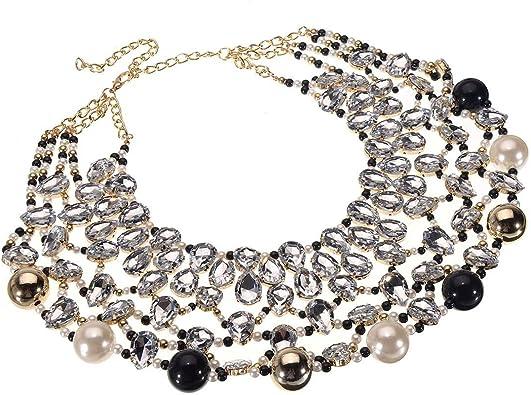 Women Rhinestone Faux Pearl Cluster Choker Statement Bib Necklace Gold Chain