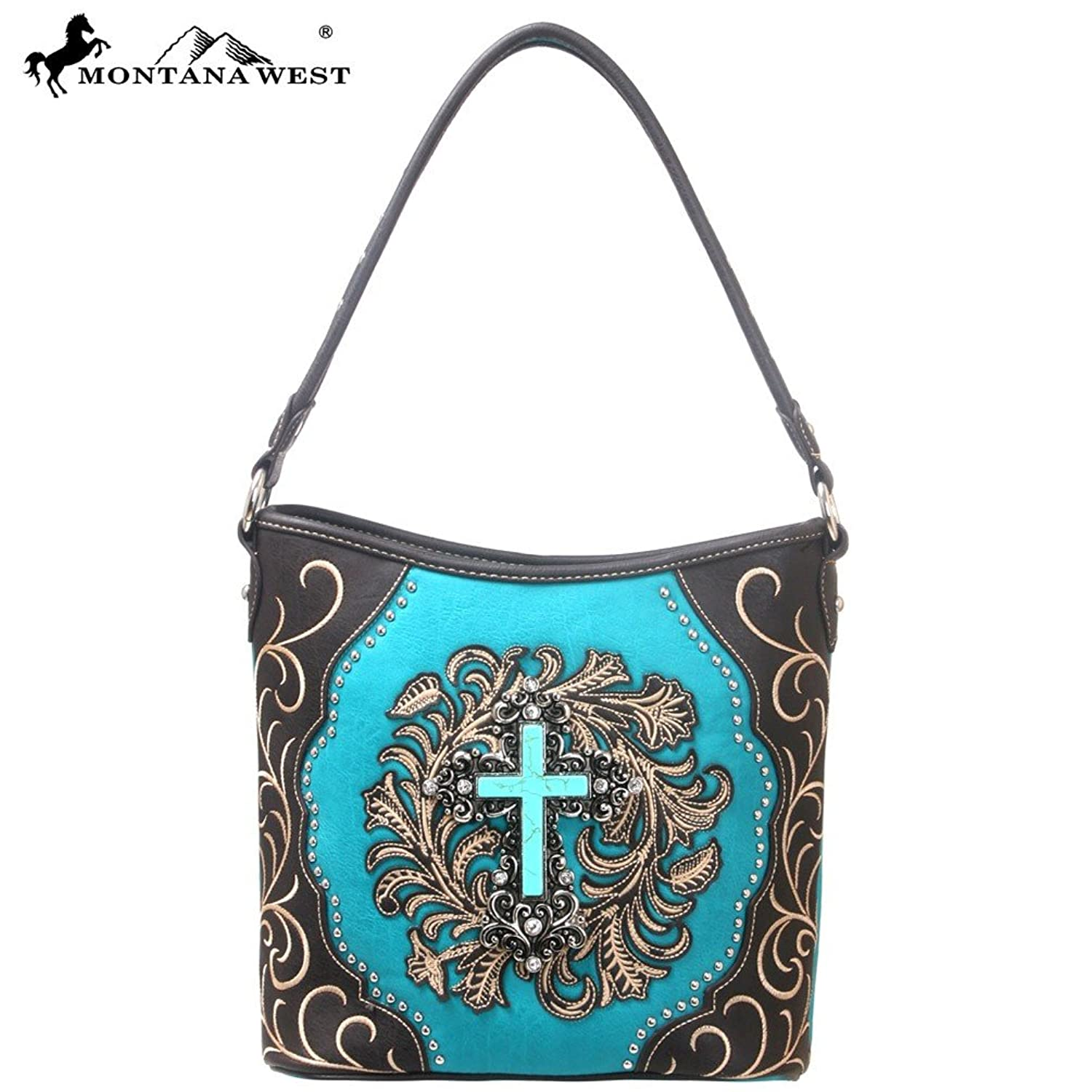 Western Faux Leather Turquois and Black Handbag with Stone Cross Concho and Rhinestones
