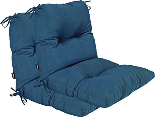 BOSSIMA Outdoor Indoor High Back Chair Tufted Cushions Comfort Replacement Patio Seating Cushions Set of 2 Teal Blue - the best outdoor chair cushion for the money