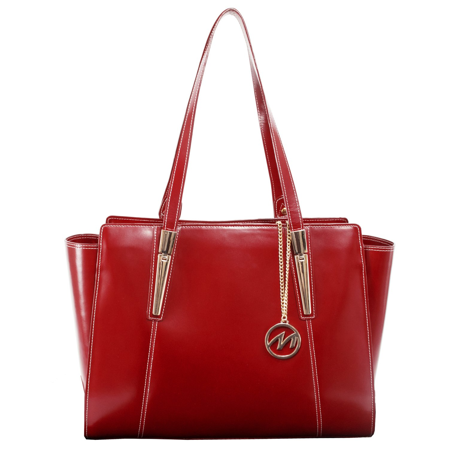 Women's Business Tote, Leather, Small, Red - ALDORA | McKlein