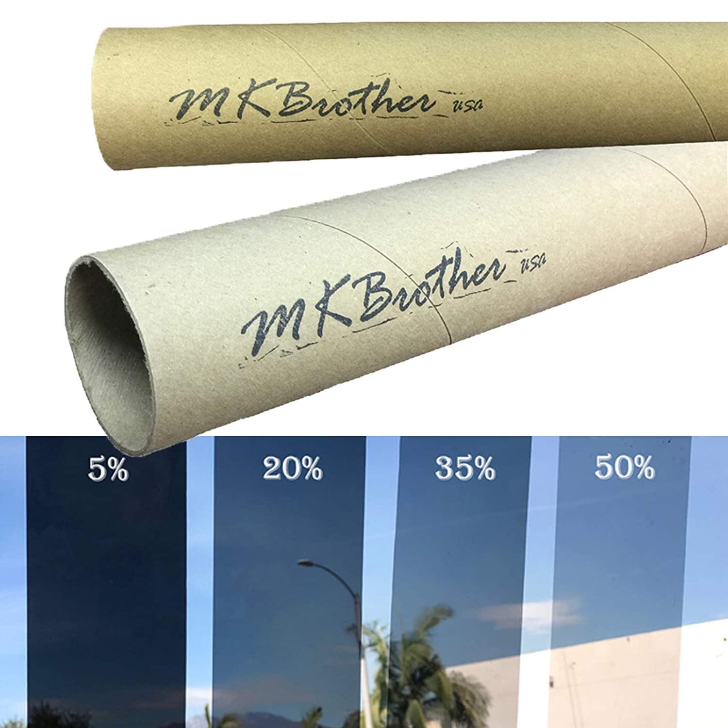 Mkbrother 2PLY 1.8 mil Premium Tint Film 5/% VLT 60 in x 100 Ft 60 x 1200 Inch Feet Uncut Roll Window