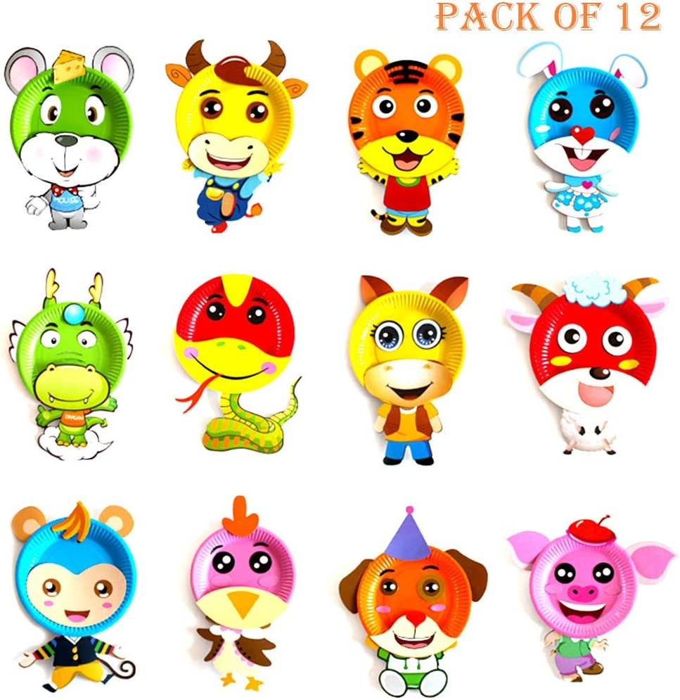 Paper Plate Crafts Animals Creative Fun Toys for Parties Groups and Classroom jiebor 12 Pack Paper Plate Art Kit