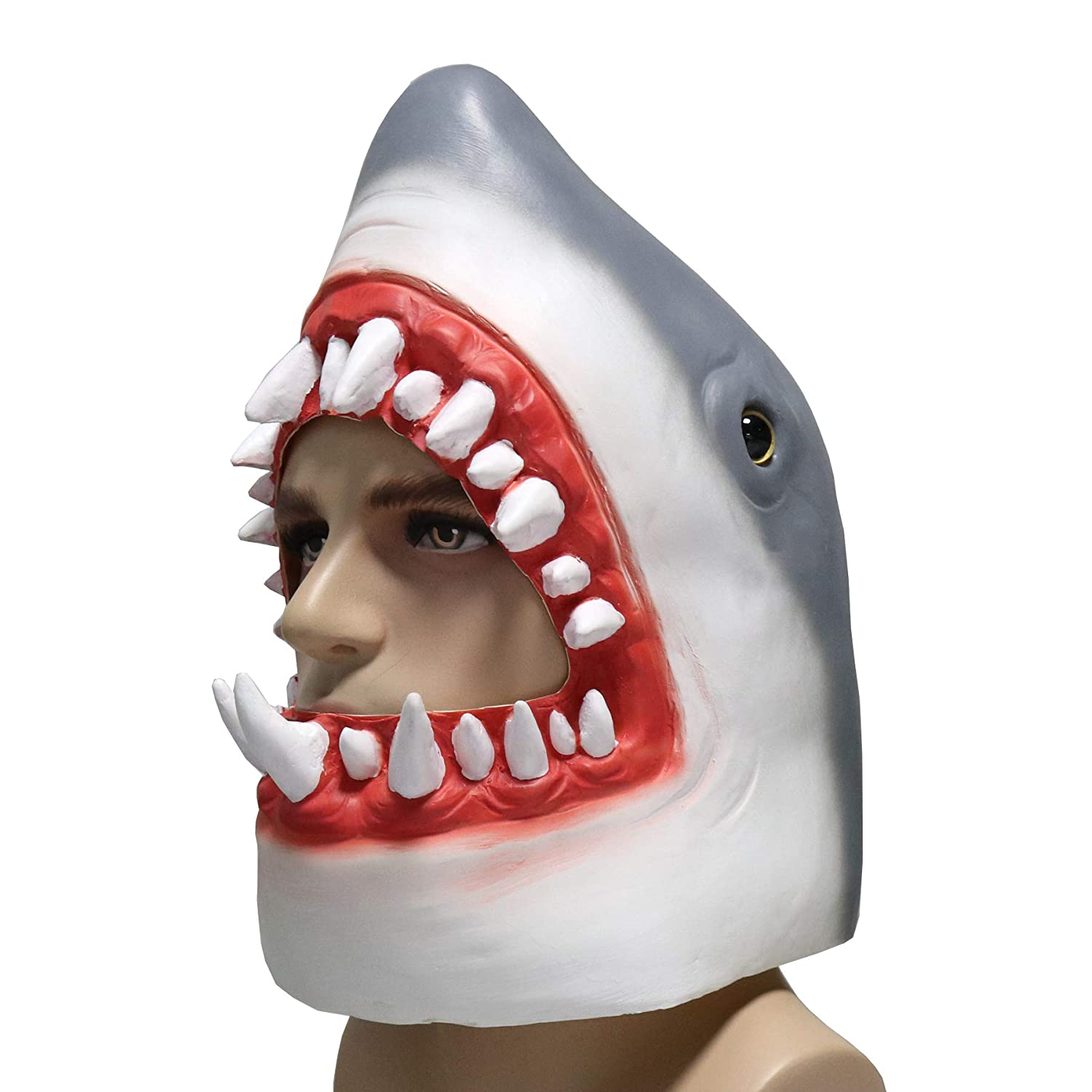 LarpGears Novelty Halloween Latex Animal Shark Head Costume Mask