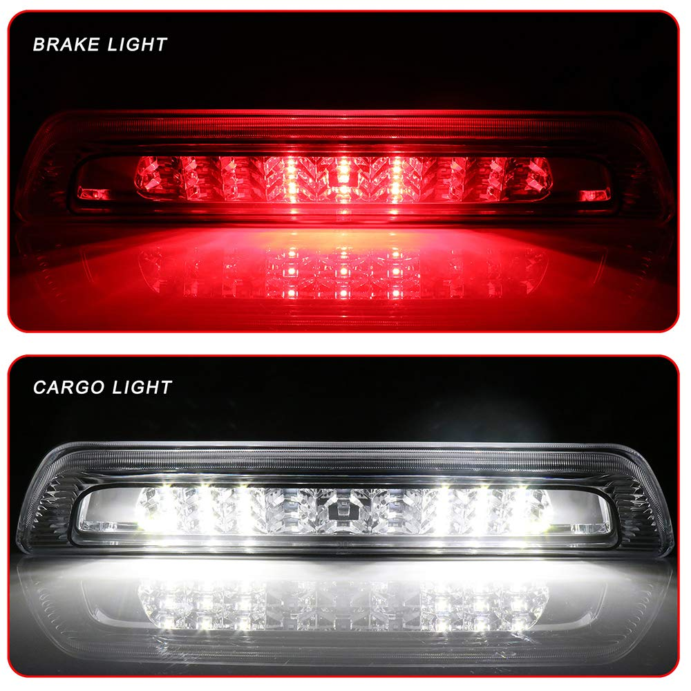 ROADFAR Third Brake Light LED 3rd Brake Light Rear Tail Brake Light Cargo Lamp Waterproof Clear Lens Chrome Housing High Mount Brake Light Replacement fit for 2007-2018 Toyota Tundra