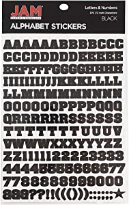JAM PAPER Self Adhesive Alphabet Letter Stickers - Black - Upper Case - 372 Stickers/Pack