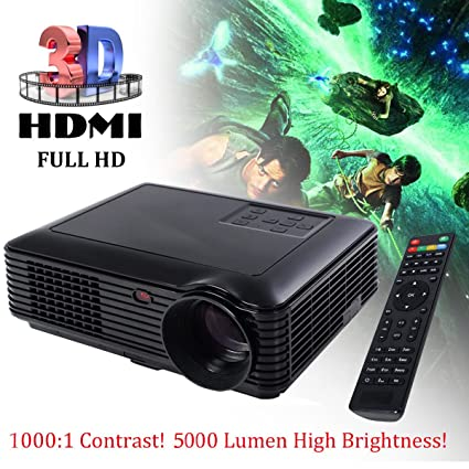 Amazon.com: 5000 Lumens HD 1080P Home Theater Projector 3D LED Portable SD HDMI VGA USB New: Electronics