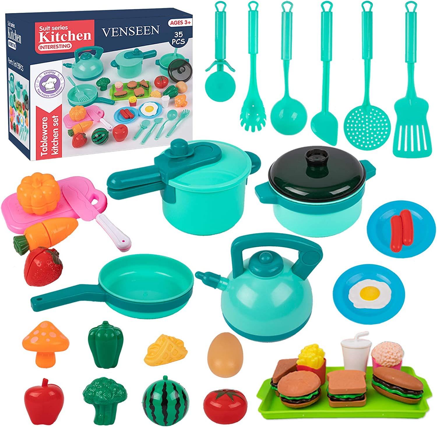 35PCS Kids Kitchen Play Toys, Cookware Playset with Pots and Pans, Play Cooking Set, Cutting Play Food, Cooking Utensils Accessories, Educational Gift for Toddlers Girls Boys Ages 3 4 5 6 Years Old