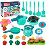 Kids Pretend Play Kitchen Accessories Toys, 35PCS Cookware Playset with Pots and Pans, Play Cooking Set, Cutting Play Food, C