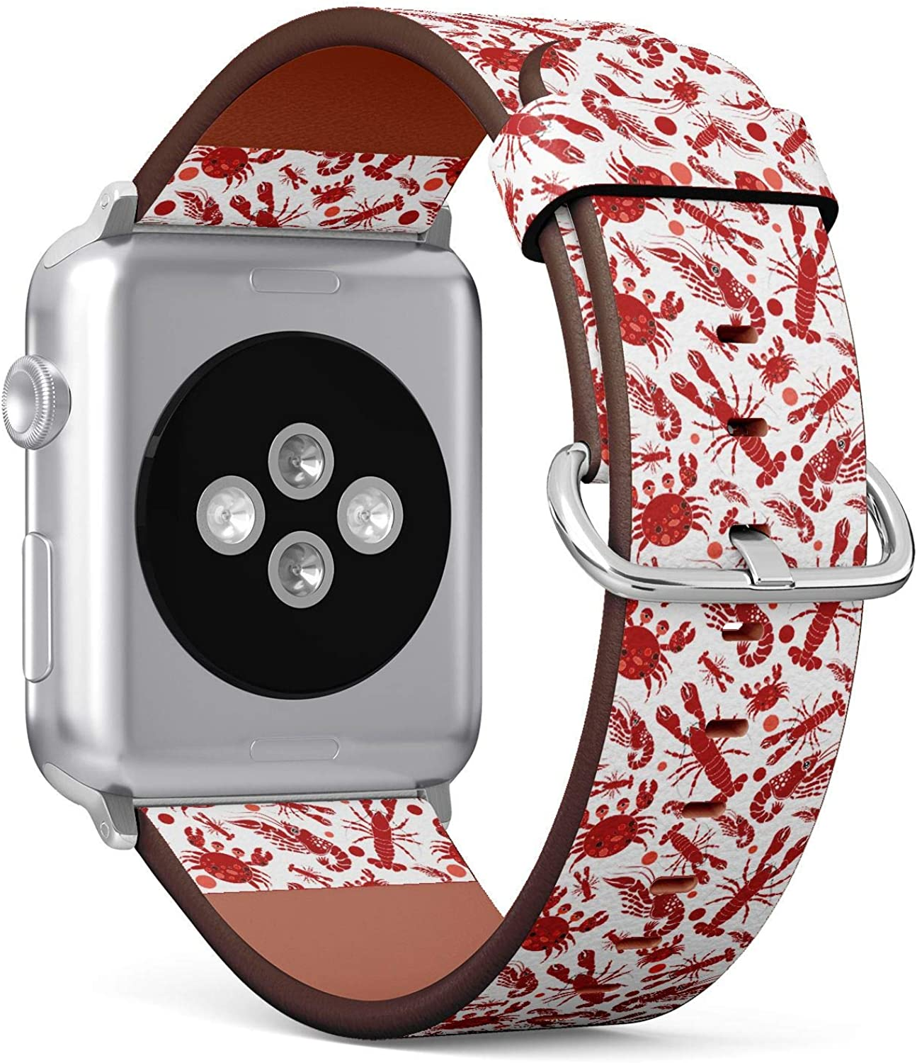 (Summer Pattern with red Crabs,Lobsters and Shrimps) Patterned Leather Wristband Strap for Apple Watch Series 4/3/2/1 gen,Replacement for iWatch 42mm / 44mm Bands