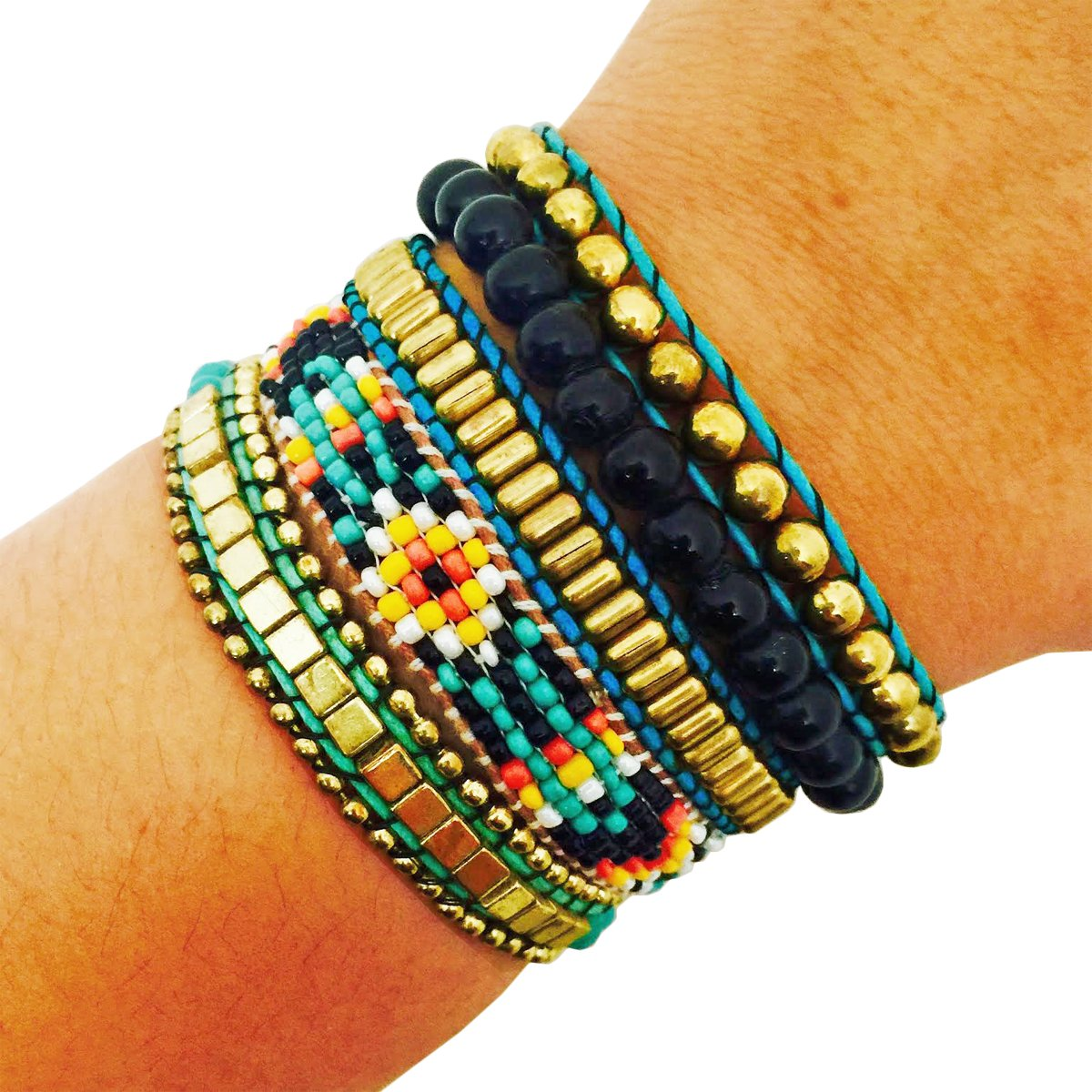 Activity Tracker Bracelet for Fitbit Flex and Other Fitness Trackers - The ROSIE Colorful Beaded, Braided Layered Snap Bracelet (Turquoise, Fitbit Flex)