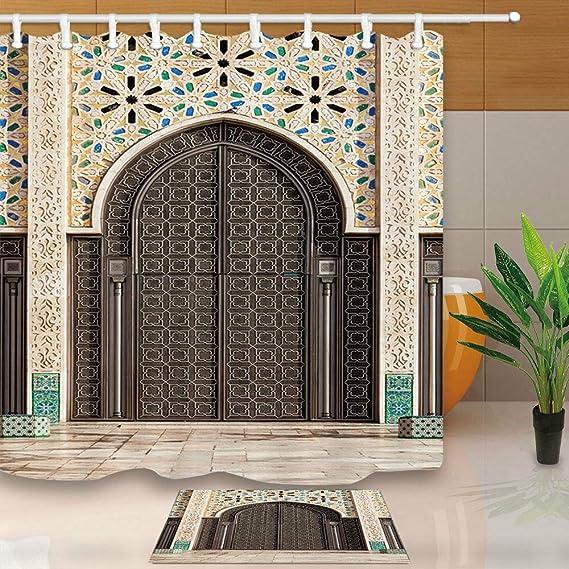 taquxinlaowan Marruecos Hassan II Mezquita Cortina de Ducha Decoración de baño Tela y 12 Ganchos 71 * 71in: Amazon.es: Hogar