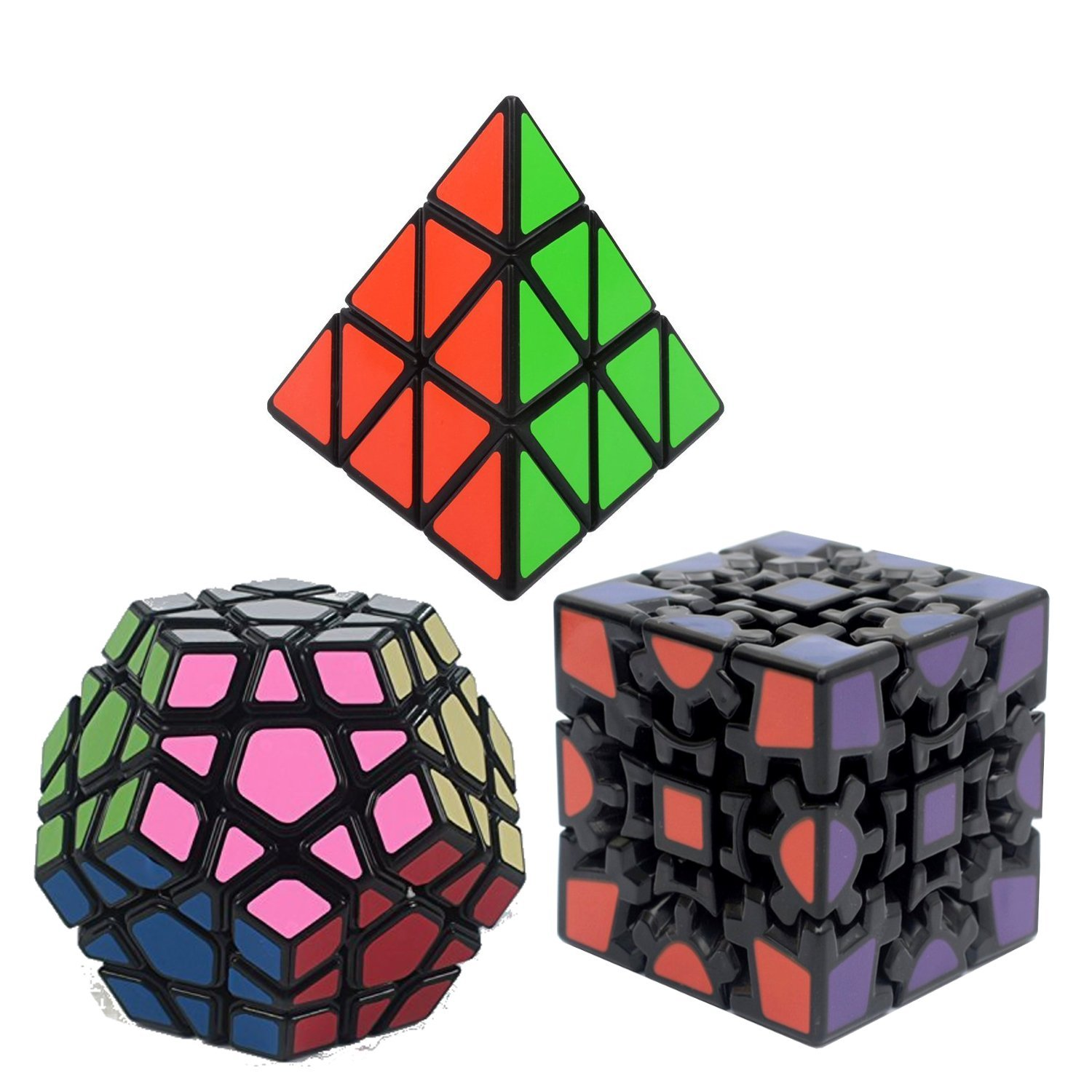 Bundle Pack Speed Cube Set of 3 Pyraminx Pyramid Speedcubing, Megaminx  Cube, 3D GEAR MAGIC Cube Twisty Puzzle Great Brain Teasing Game For Kids  and