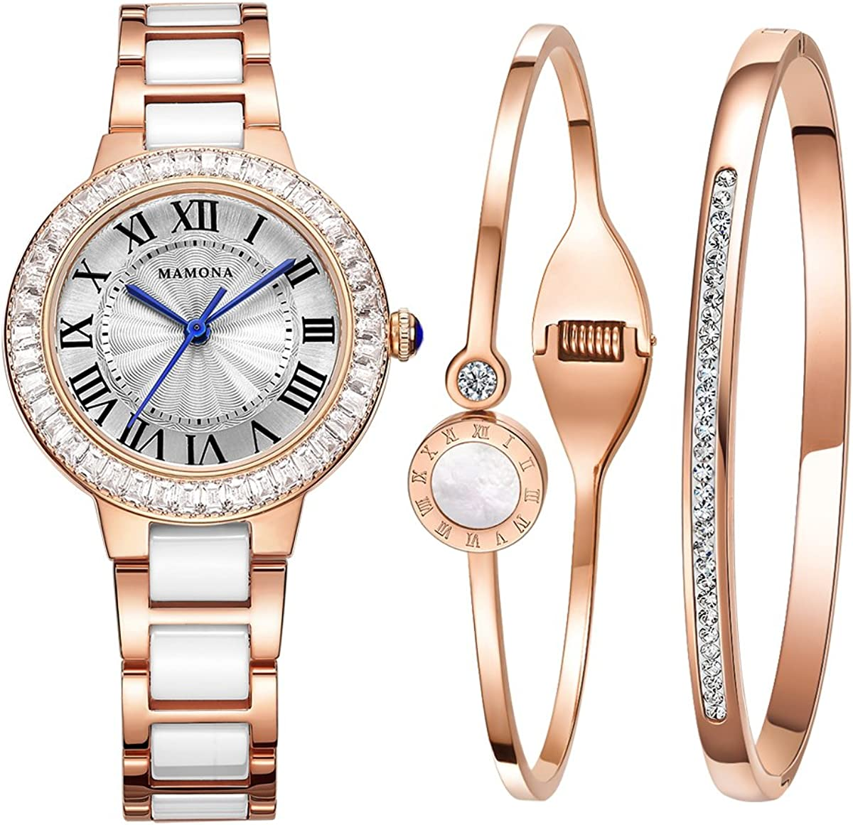 Set-MAMONA Reloj De Pulsera Quartz Para Mujeres, Set Cerámica Rosa Dorada Y Reloj De Acero Inoxidable 68008LRGT: Amazon.es: Relojes