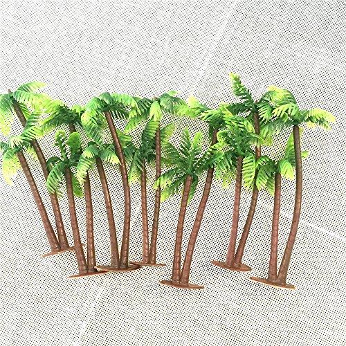 Palm Tree Table Decorations (HY HoneyYX 14CM Mini PE Artificial Coconut Palm Tree Micro Plastic Landscape Sandbox Style Palm Island Artificial Plant Decoration Artificial Coconut Palm Tree Pack of)