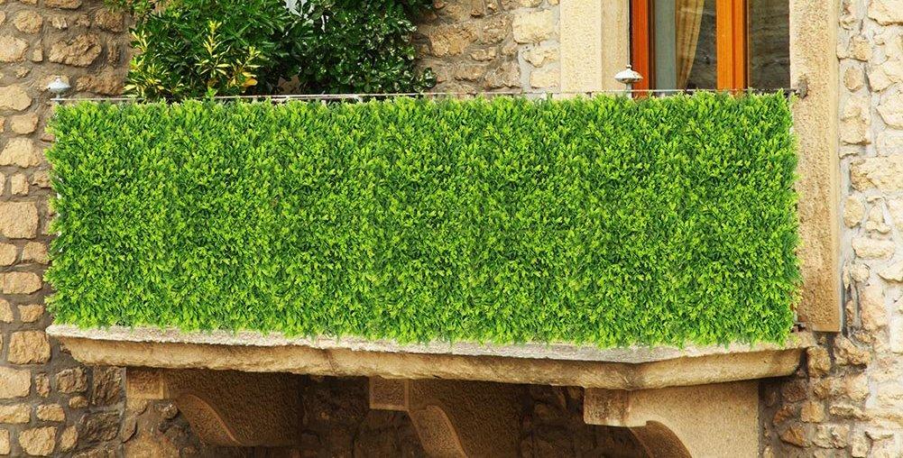 Ulandホーム壁の装飾人工植物パネルパティオBoxwoodフェンス人工アイビーリーフHedgeプライバシーカバーウインドスクリーン20