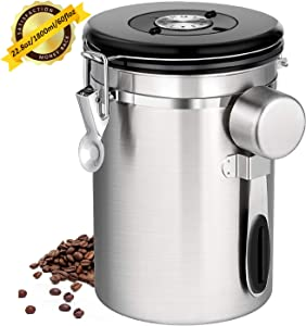 Coffee Canister Airtight Stainless Steel Coffee Canister Food Storage Container with Date Tracker, CO2 Release Valve and Measuring Scoop for Beans Grounds Tea Flour Cereal Sugar (60 FL OZ / 1800 ML)