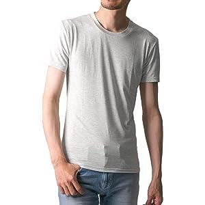 FTELA(フテラ) メンズ シャツ カットソー Tシャツ ロンTクルーネック 丸首 Vネック 長袖 7分袖 半袖 無地 シンプル スリム オートミール(半袖/丸首/霜降り) M