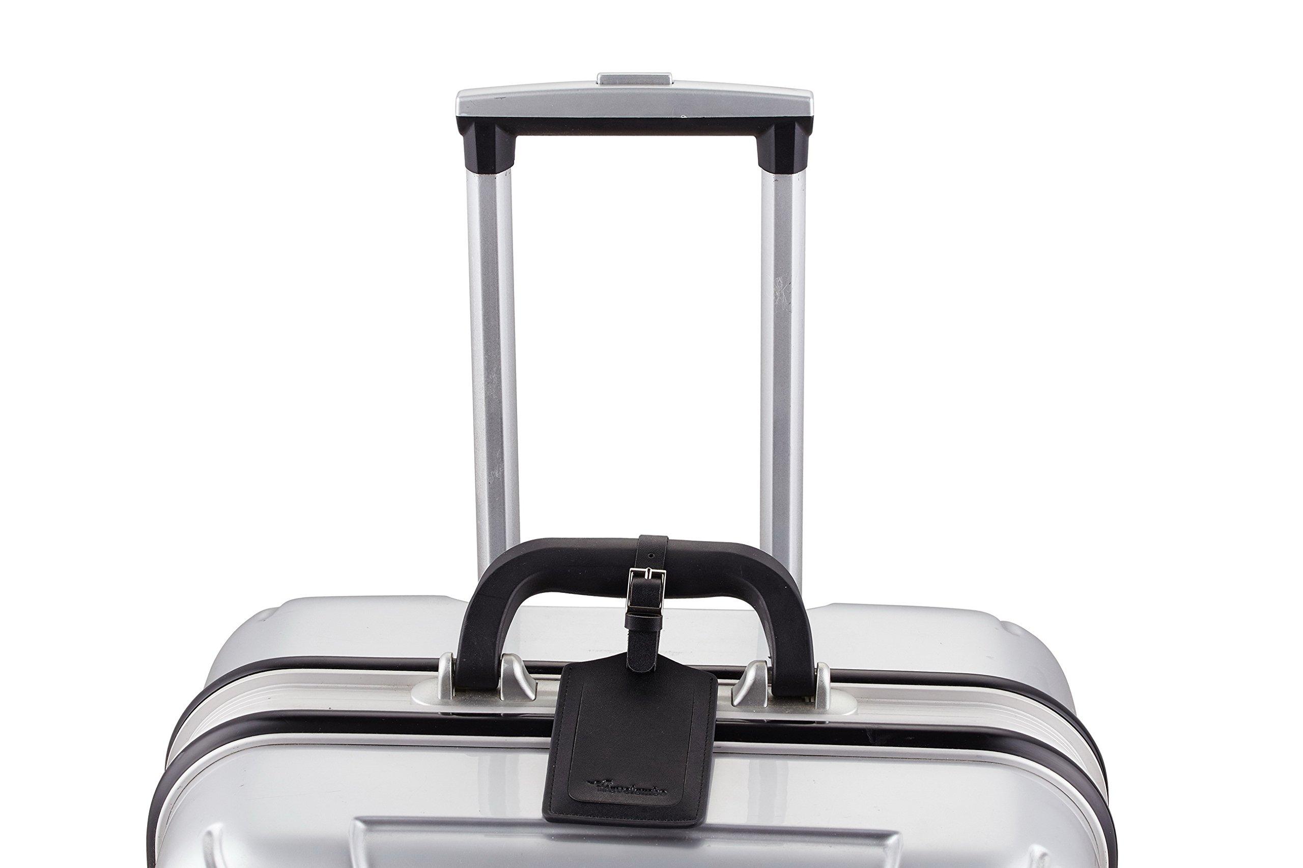 Travelambo Leather Luggage Bag Tags (Black 4001- Classic Black) by Travelambo (Image #5)
