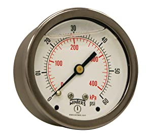 """Winters PFQ Series Stainless Steel 304 Dual Scale Liquid Filled Pressure Gauge with Brass Internals, 0-60 psi/kpa,2-1/2"""" Dial Display, +/-1.5% Accuracy, 1/4"""" NPT Center Back Mount"""